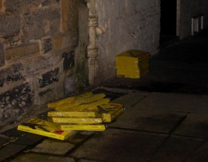 Stacked and abandoned phone books